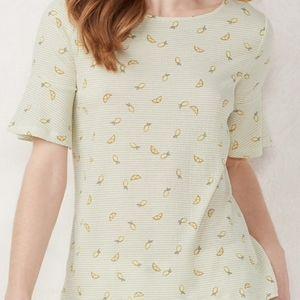LC Lauren Condrad Lemon Flutter Sleeve Top Large